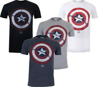 Marvel Captain America Distressed Shield Avenger Mens T-Shirt Tee Top