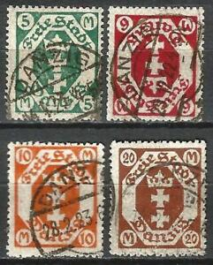 Germany (Weimar Rep.) Danzig 1922 Used - Defins State Arms in Octagon Mi-108-111