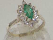 Emerald Marquise Natural Sterling Silver Fine Rings