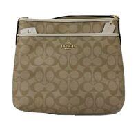 Coach Signature Crossbody PVC Purse Handbag File Bag, Khaki/Chalk NEW