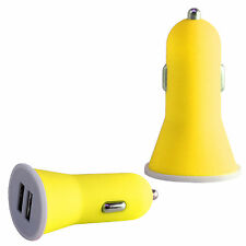 High Quality Yellow 2.1 AMP Rapid Double Speed Dual Universal Car Charger Mobile