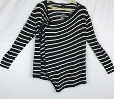 Nicole Miller Knit Top Crossover Asymmetrical XXL Black White Stripe Zip NWT