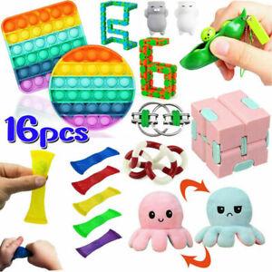 16X Pop It Fidget Sensory Toy Set Autismus SEN ADHS Fidget Stressabbau Spielzeug