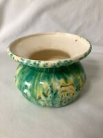 "Vintage Hanging Planter Ceramic Green Yellow Mid Century Modern 8 1/2"" x 6 1/2"""