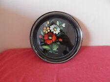 "Vintage Decorative Black Floral 7"" Tin Plate"
