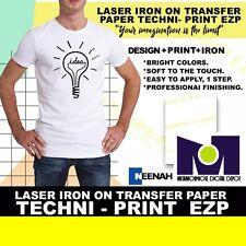 """LASER IRON ON TRANSFER PAPER TECHNIT-PRINT EZP 8.5"""" x 11""""  50Pk #1 Seller"""