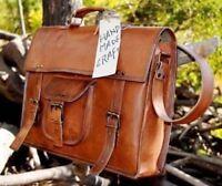 """15"""" Men's Brown Leather Briefcase Messenger Satchel Shoulder Vintage Leather Bag"""