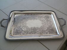 Vntg Rogers Silverplated Dual Handel 20'' Tray #4091