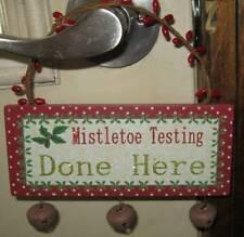 Mistletoe Testing Done Here Door Peg Hanger Christmas Pip Berry Jingle Bells NEW