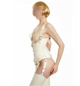 Latex Corsets White Rear Lacing Front Open Sexy Middle Ages Style Customize .4mm