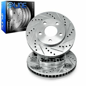 Front R1 Concepts eLine Silver Drilled Slotted Brake Rotors