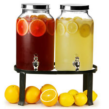 Dual Mason Jar Drinks Dispenser with Stand 10ltr | Mason Jar Beverage Dispenser