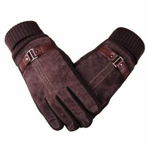 Gloves Genuine Suede Leather Warm Winter Touch Screen Knitted Bike Motorcycle