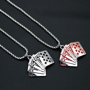 Mens Poker Card Pendant Necklace Biker Punk Red Black Stainless Steel Box Chain