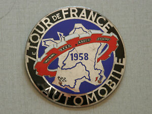 Plaque de Calandre du 7ème Tour de France automobile 1958. Auto ancienne.