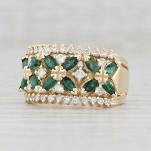 1.50ctw Smaragd Diamant Blume Cocktail Ring 14k Gelbgold Größe 7