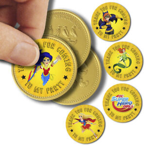 x35 DC Superhero Girls Inspired Chocolate Coin Birthday Party Labels 37mm