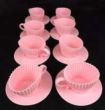 Teacup Cake Molds Pack Of 8 Pink Silicone Teacup Cupcake Mold Saucers Bake Serve