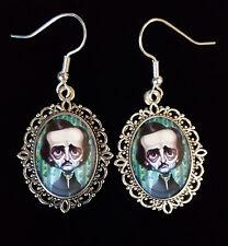 Edgar Allan Poe Antique Silver Drop Earrings Raven Caricature 19thC Goth Author