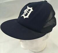 Vintage Detroit Tigers Baseball Cap Worn S/M, Made In USA!