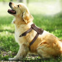 Real Leather Dog Harness for Medium Large Dogs Heavy Duty Dog Walking Vest Brown