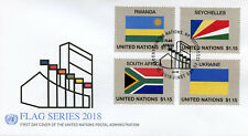 United Nations UN 2018 FDC Flag Series 55 Rwanda Ukraine 4v Cover Flags Stamps