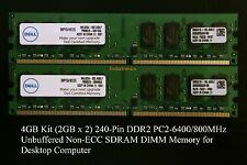 4GB Set (2GBx2) 240-PIN DDR2 PC2-6400U/800MHz CL6 Desktop DIMM For Dell, HP ...