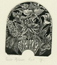Flowers, Ex libris Bookplate  Etching by Oleg Yakhnin, Russia