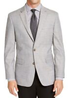 Tommy Hilfiger Mens Blazer Gray Size 42 Plaid Printed Two-Button $295 #040