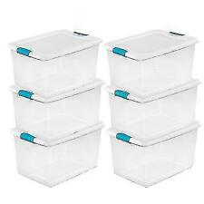 Sterilite 64 Quart Clear Plastic Storage Boxes - 6 Pack