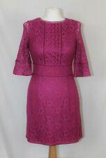 Oasis Pink Purple Magenta Lace 3/4 Sleeve Boho Fitted Shift Sheath Dress size XS