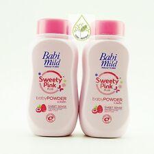 2 Baby Powder 100g.Babi Mild Natural Mild Sweety Pink Talcum Talc Plus Free Ship