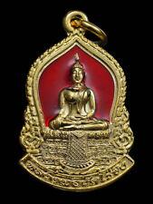 THAI AMULET BUDDHA LP WAT RAIKHING SEMA RED ENAMEL PENDANT DECORATIVE NECKLACE