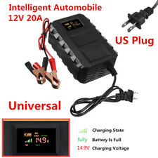 Portable Intelligent 1x 12V 20A Car Motorcycle Lead Acid Battery Charger US Plug