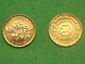 "TONGA  1996  2 SENITI ""TARO PLANTS""  KM67  UNCIRCULATED COIN"