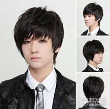 Wig Men Cool Straight Black Short Boy Hadnsome Synthetic Hair Cosplay Full Wigs