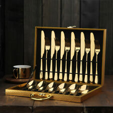 16/24 Piece Kitchen Cutlery Set 430 Stainless Steel Gold Knife Fork Spoon