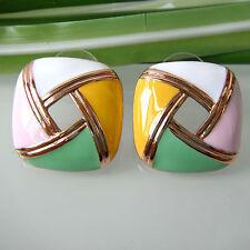 Navachi Square Colorful Enamel 18K GP Earring Ear Stud Earrings BH2375