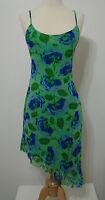 BETSEY JOHNSON 100% Silk Green Blue Floral Asymmetrical Strap Cocktail Dress S