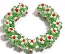15pcs Lampwork Glass Beads Handmade Green White Flower Loose Rondelle Spacer