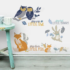 Children's Woodland Animal Wall Stickers, Girl's Nursery Wall Decals- Woodland