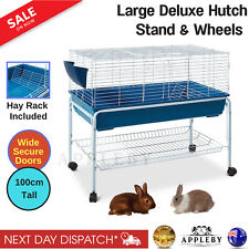 100cm Bunny Home Rabbit Guinea Pig Animal Cage Hutch Habitat Wheel Stand House