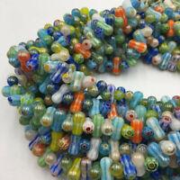 """Glass Handmade Lampwork Dumbbell Beads 6x12mm 15.5"""" Strand"""