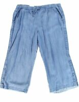 Style & Co. Women's Pants Blue Size 20W Plus Stretch Wide Leg Frayed $59 #425