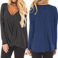 ZANZEA Women Plus Size Long Sleeve Blouse T Shirt Tee Twist Front Tunic Wrap Top