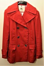 BURBERRY COAT LONDON ADRIENNE RED PEACOAT MILITARY TRENCH COAT RAINCOAT SIZE 10R