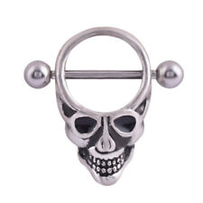 1pc Punk Gothic Skull Surgical Steel Nipple Shield Ring Bar Piercing Jewellery