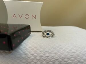 Avon Evil Eye Ring - Sz 8 - Silvertone