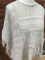 NEXT Cream Knitted Style Poncho Shawl Tassels Hippy Boho One Size Prairie