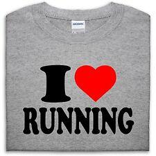 I LOVE RUNNING T SHIRT TOP HEART GIFT MEN GIRL WOMEN BOY RUN EXERCISE SPRINT